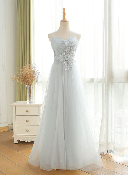 Gray tulle long prom dress, sweetheart neck evening dress