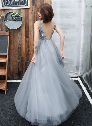 Gray v neck tulle beads prom dress, evening dress