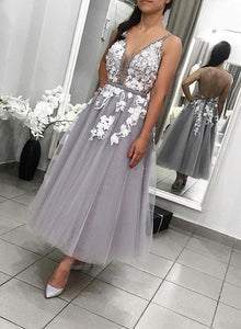 Gray v neck tulle lace short prom dress, evening dress