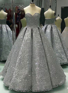 Shiny gray lace sequins long prom gown, evening dress