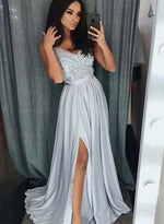 Gray v neck lace satin long prom dress, lace evening dress