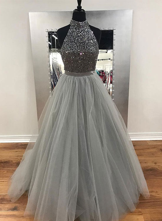 Gray tulle beaded long prom dress, gray evening dress