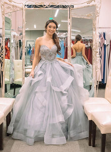 Gray sweetheart neck tulle beaded long prom dress, evening dress