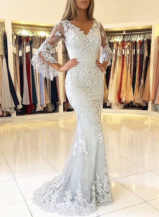 Mermaid gray tulle lace long prom dress, lace evening dress