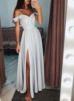 Gray v neck satin long prom dress, evening dress
