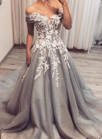 Gray v neck tulle lace long prom dress, lace evening dress