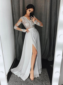 Gray A line v neck long prom dress, gray long sleeve lace evening dresses