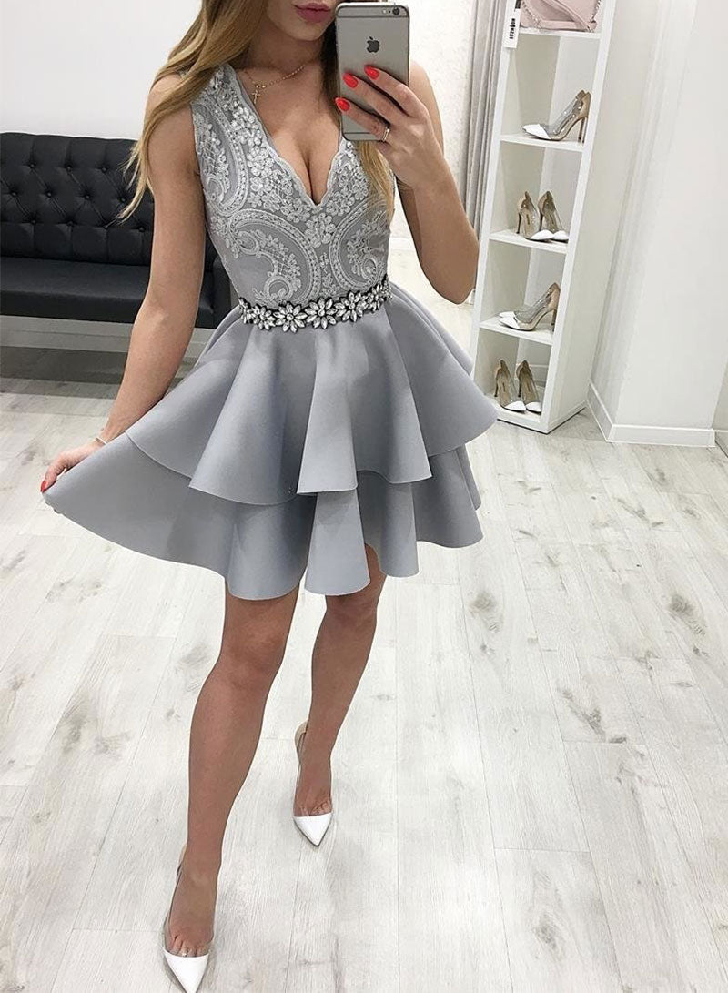 Gray v neck sleeveless satin short prom dress