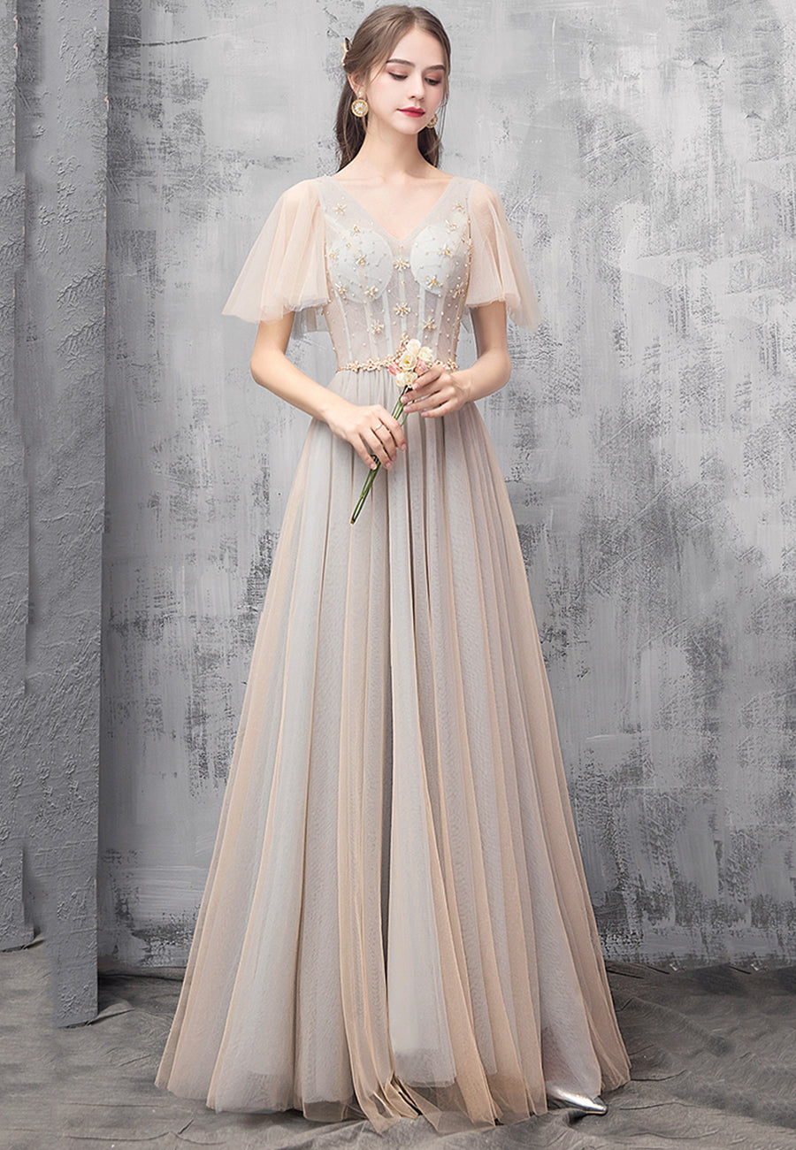 Champagne v neck tulle long prom dress evening dress