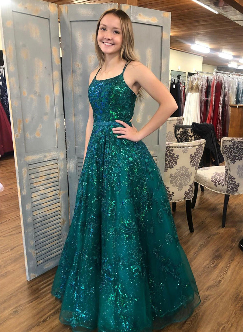 Green tulle sequins long prom dress evening dress