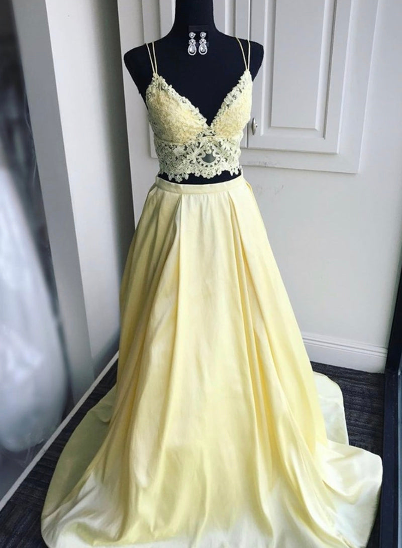 Yellow lace prom dress two pieces evening dress