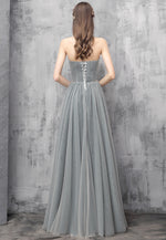 Gray sweetheart neck tulle prom dress evening dress