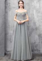 Gray tulle beads long prom dress evening dress