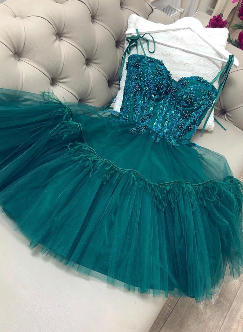Green tulle short prom dress homecoming dress