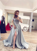 Gray lace satin long prom dress evening dress