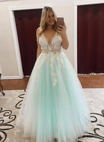Green v neck tulle lace long prom dress, lace evening dress