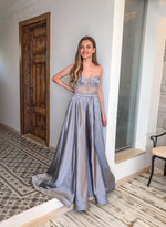 Grey satin long prom dress sweet evening dress