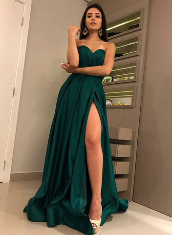 Simple sweetheart neck long prom dress, green evening dress
