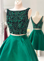 Cute green two pieces short prom dress, homecoming dress