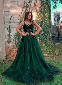 Stylish green tulle long prom dress, green evening dress