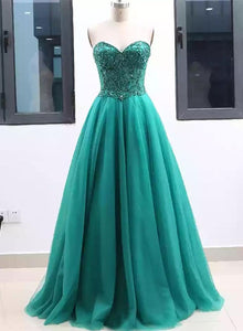 Green sweetheart neck tulle long prom dress, green evening dress