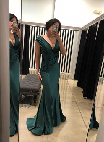 Green mermaid v neck satin long prom dress, evening dress