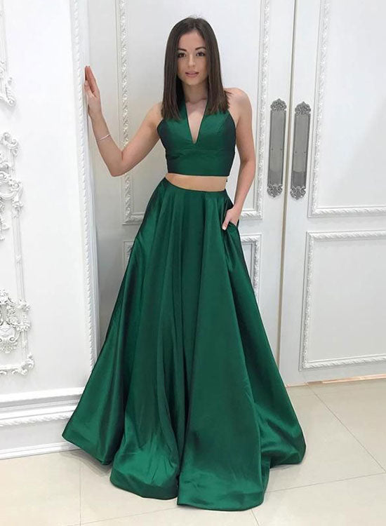 Green two pieces long prom dress, green evening dress – trendty