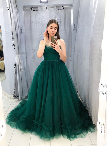 Green tulle long prom dress party dress
