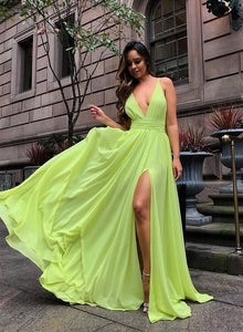 Simple green v neck chiffon long prom dress evening dress