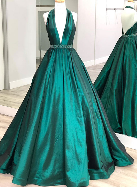 Green v neck satin long prom dressy evening dress