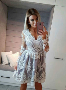 Gray lace short prom dress, long sleeve lace evening dress