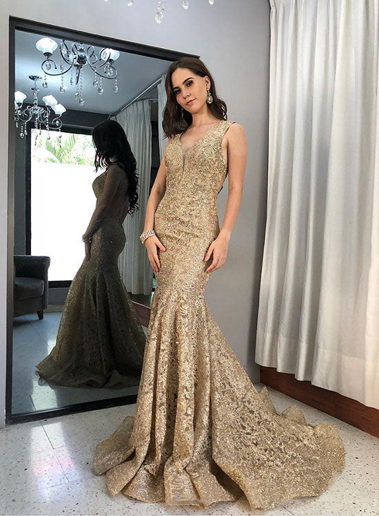 Gold Mermaid Lace Long Prom Dress Lace Evening Dress
