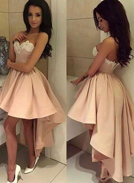 Charming high low lace prom dress, evening dress
