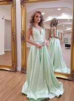 Green v neck long prom dress, green evening dress