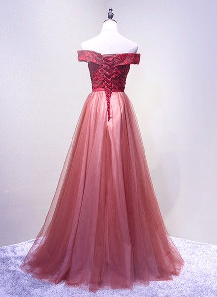 Unique lace tulle off shoulder long prom dress, lace evening dress