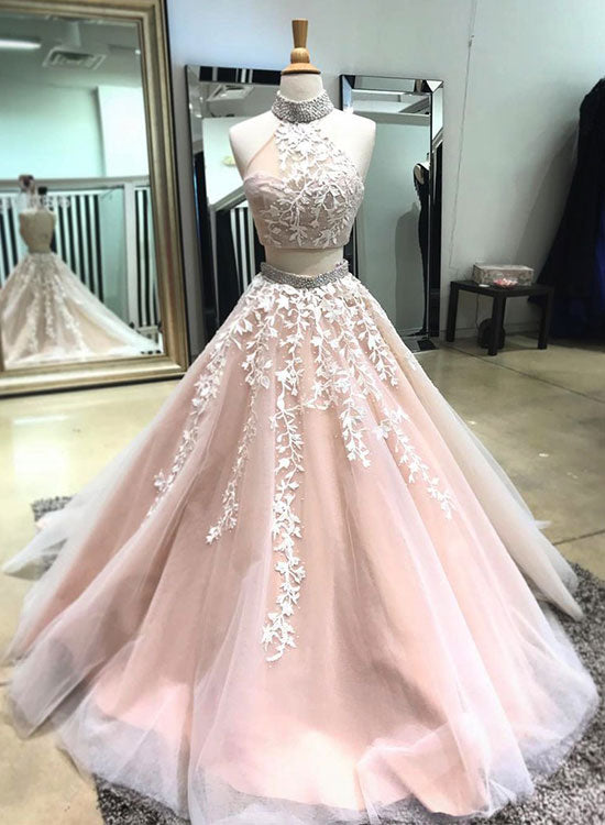 Two pieces lace tulle long prom dress, lace evening dress