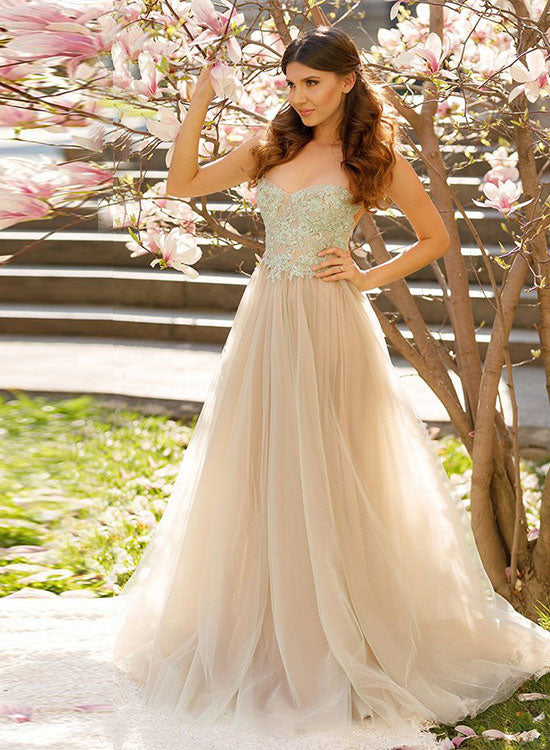 Champagne lace tulle long prom dress, lace evening dress