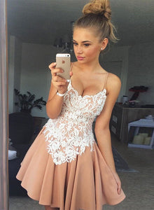 Cute lace A line short prom dress, homecoming dress