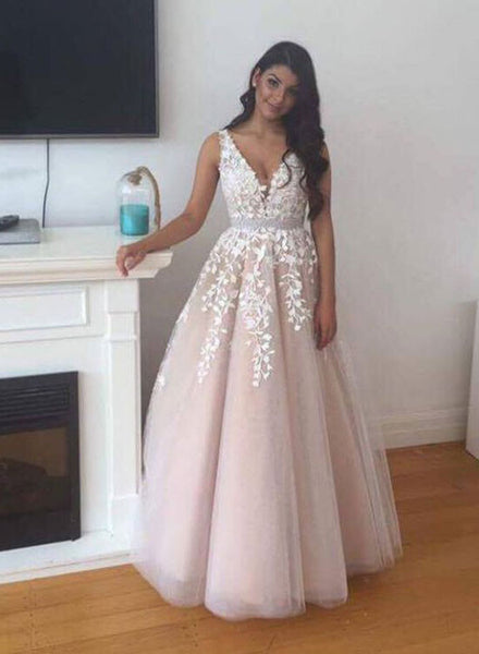 Pretty A line tulle lace long prom dress, lace evening dress