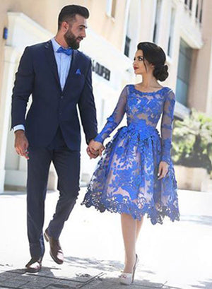 Royal blue lace long sleeve  short prom dress, homecoming dress