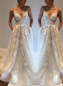 White v neck spaghetti strap wedding gown, lace evening dresses