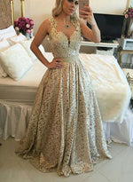 Stylish gold lace long prom dress, lace evening dress