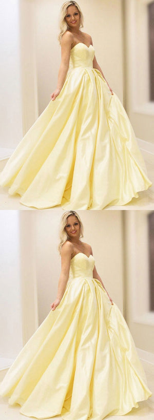 Yellow sweet neck satin long prom dress, yellow evening dress