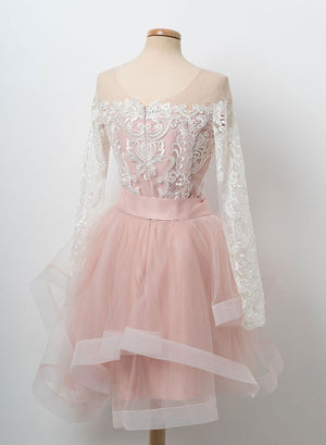 Pink round neck tulle lace short prom dress, long sleeve evening dress