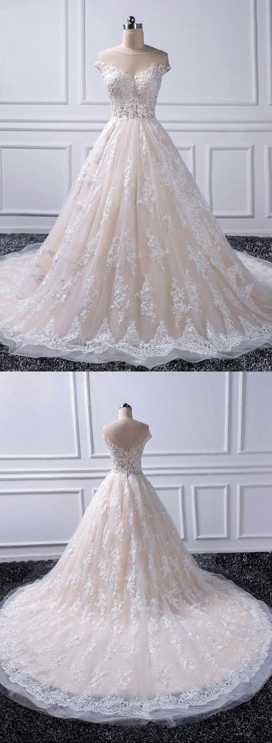 Custom made lace tulle long prom gown, evening dress