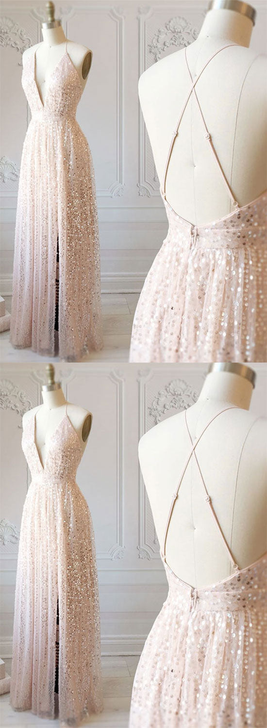 Champagne v neck sequins long prom dress, evening dress