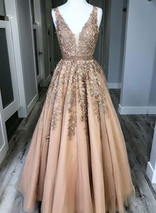 Custom made v neck tulle lace long prom dress, formal dress