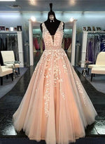 Champagne A line v neck tulle lace long prom dress for prom, lace dress