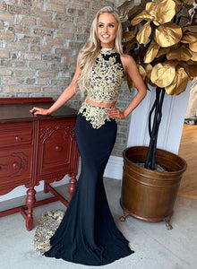 Mermaid lace long prom dress, two pieces evening dress