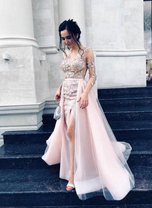 Unique tulle lace long prom dress, pink evening dress
